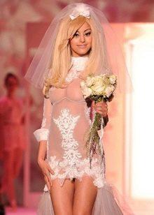 Свадебное платье откровенное прозрачное с ажуром