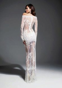 Прозрачное откровенное свадебное платье