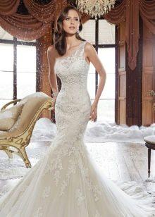 Кружевное свадебное платье русалка на одно плечо