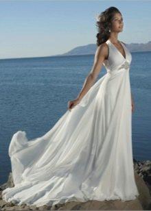 Пляжное свадебное платье из атласа