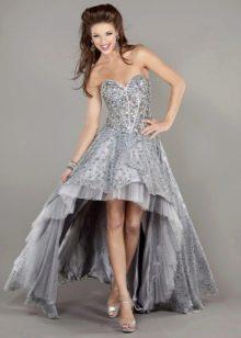 Серое свадебное платье со шлейфом