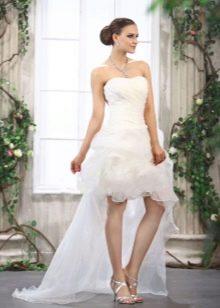 Свадебное короткое пышное платье со шлейфом