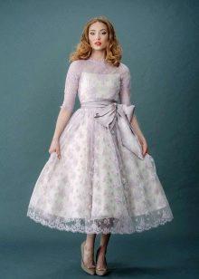 Свадебное платье миди с контрастным кружевом
