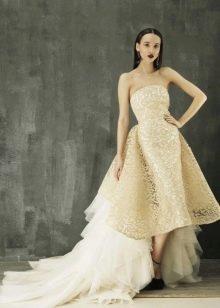 Свадебное платье миди ажурное бежевое