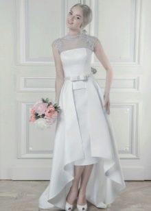 Свадебное платье миди короткое спереди, длинное сзади