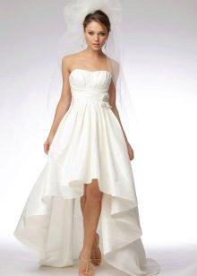 Свадебное ажурное платье со шлейфом миди
