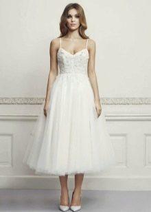 Свадебное платье миди на бретелях