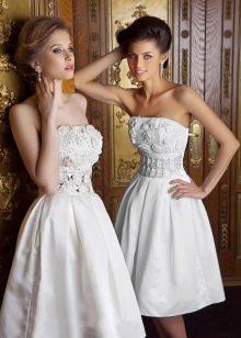 Свадебное платье миди с очень пышною юбкой
