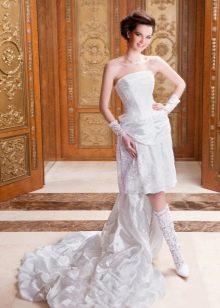 Свадебное платье миди со шлейфом