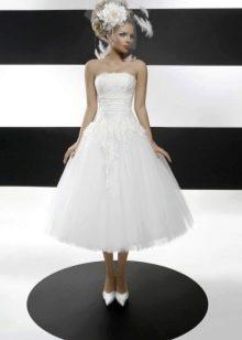 Свадебное платье миди с вуалеткой