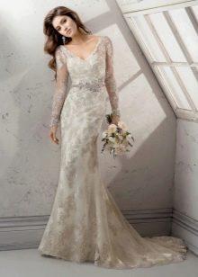Свадебное платье русалка с кружевными рукавами длинными