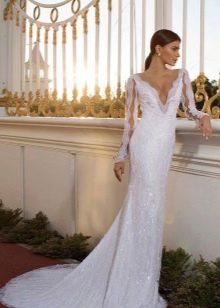 Свадебное платье русалка с кружевными рукавами