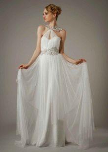Свадебное платье с кружевной аппликацией в греческом стиле
