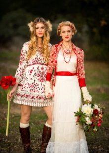 Свадебное платье стилизованное под русский стиль