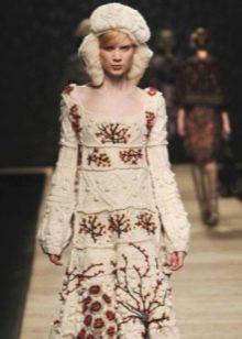 Свадебное платье в русском стиле вязанное