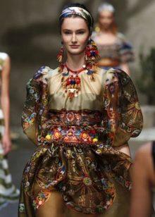 Свадебный платье цветное в русском стиле