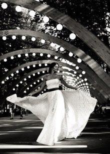 Свадебное платье в стиле рустик от Vesssna с контрасным поясом