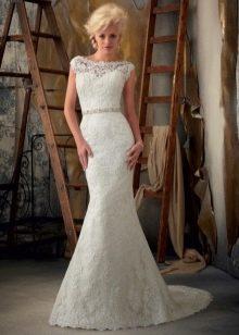 Ажурное свадебное платье русалка для зрелых невест