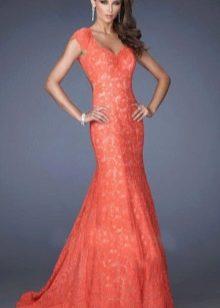 Алое свадебное платье русалка