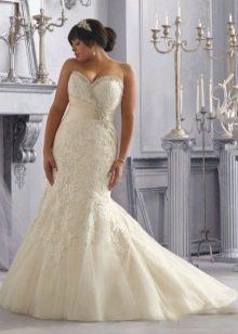 Свадебное платье русалочка для полных невест