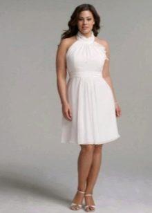 Свадебное платье короткое для полных невест из органзы