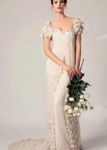 Свадебное платье ампир с объемными рукавами