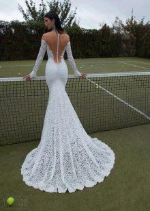 Свадебное платье русалка из кружева со шлейфом с открытой спиной