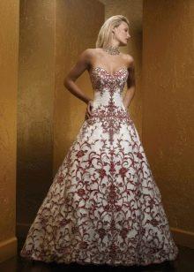 Бело-красное платье свадебное с кружевом