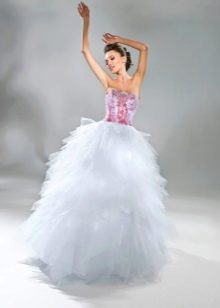 Свадебное платье с красным лифом