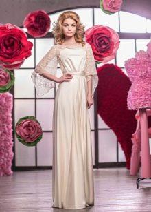 Свадебное платье закрытое с ажурными рукавами