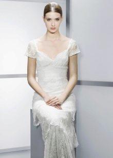 Свадебное платье в стиле ампир  с коротким рукавом