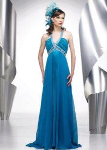 Синее свадебное платье ампир