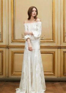Свадебное платье с заниженной талией и рукавами в стиле ретро