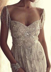 Винтажное свадебное платье, крашенное бисером