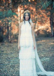 Свадебное многоярусное платье винтажное