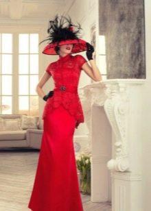 Свадебное винтажное красное платье