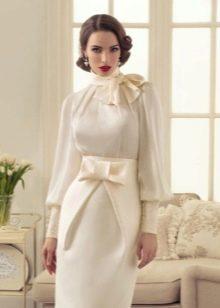 Свадебное винтажное короткое закрытое платье