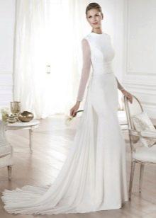 Свадебное платье с длинным рукавом прозрачным
