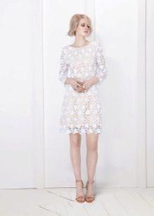 Короткое свадебное платье закрытое с длинным рукавом