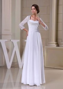 Свадебное платье ампир с рукавом три четрверти