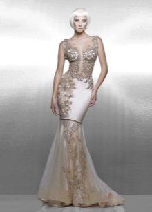 Вечернее платье бежевое от Saiid Kobeisy в стиле нюд