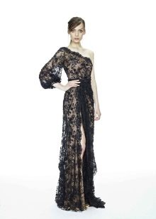 Вечернее платье от Marchesa на одно плечо