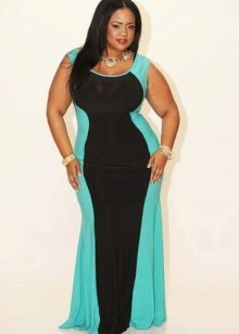 Черно-синее вечернее платье для полных