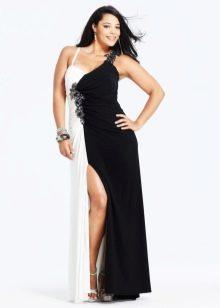 Бело-черное вечернее платье для полных