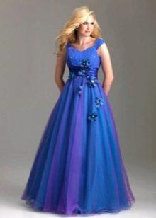 Вечернее платье для полных А-силуэта синее