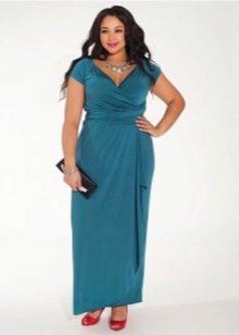 Вечернее платье с запахом для полных синее