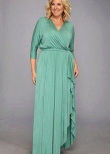Вечернее платье с запахом для полных мятное