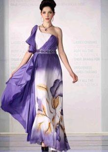 Фиолетовое платье с белым и желтым