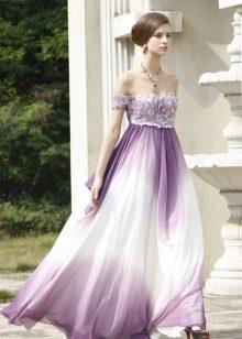 Вечернее платье - белый с фиолетовым