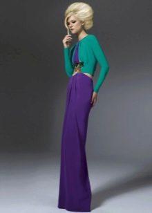 Фиолетовое платье с зеленым